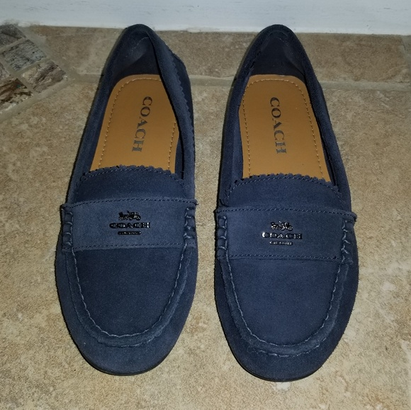 9b6c9efbc92 Coach Shoes - COACH Fortunata Driving Loafers Suede Navy